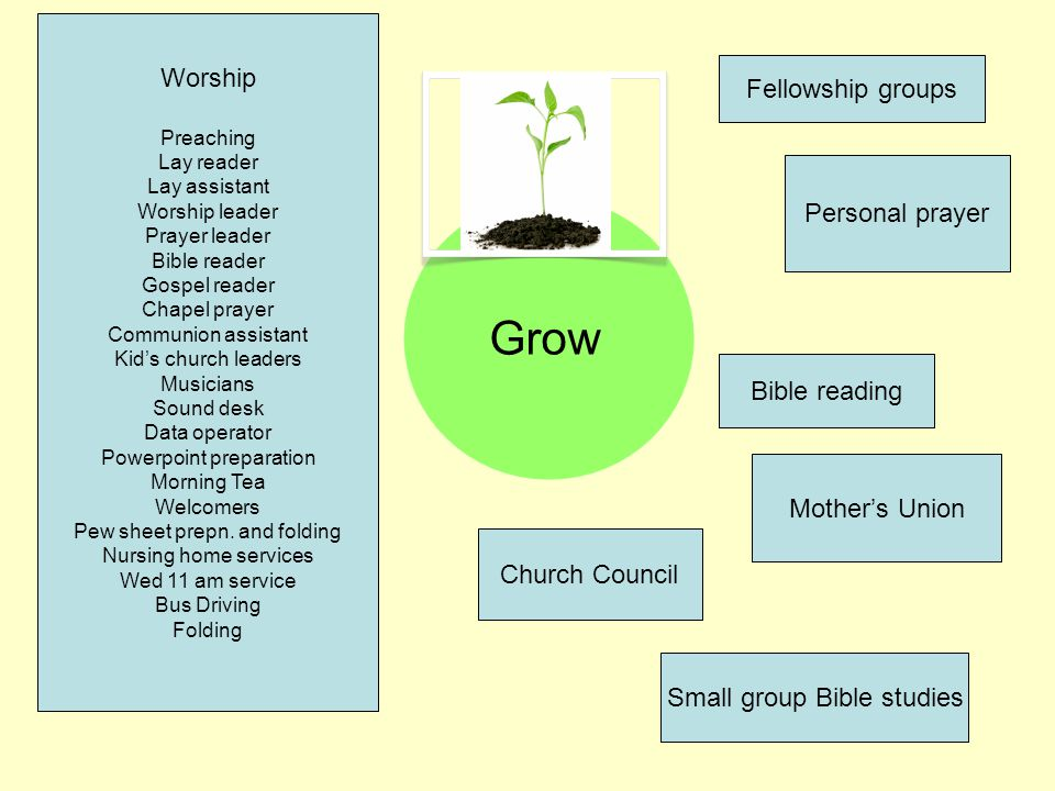 Grow Worship Preaching Lay reader Lay assistant Worship leader Prayer leader Bible reader Gospel reader Chapel prayer Communion assistant Kids church leaders Musicians Sound desk Data operator Powerpoint preparation Morning Tea Welcomers Pew sheet prepn.