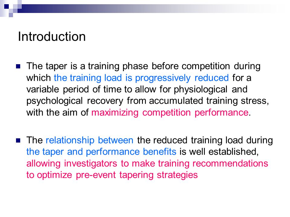 The aim of this lecture is to compile and synthesize the present knowledge on tapering induced physiological changes in athletes and assess the possible relationships between these changes and performance benefits of the taper.