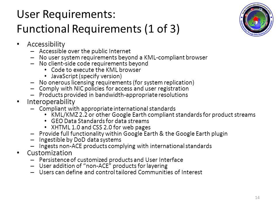User Requirements: Functional Requirements (1 of 3) Accessibility – Accessible over the public Internet – No user system requirements beyond a KML-compliant browser – No client-side code requirements beyond Code to execute the KML browser JavaScript (specify version) – No onerous licensing requirements (for system replication) – Comply with NIC policies for access and user registration – Products provided in bandwidth-appropriate resolutions Interoperability – Compliant with appropriate international standards KML/KMZ 2.2 or other Google Earth compliant standards for product streams GEO Data Standards for data streams XHTML 1.0 and CSS 2.0 for web pages – Provide full functionality within Google Earth & the Google Earth plugin – Ingestible by DoD data systems – Ingests non-ACE products complying with international standards Customization – Persistence of customized products and User Interface – User addition of non-ACE products for layering – Users can define and control tailored Communities of Interest 14