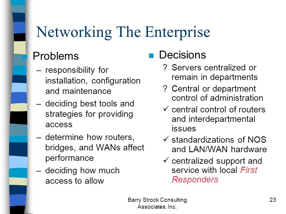 Barry Strock Consulting Associates, Inc. 23 Networking The Enterprise n Problems –responsibility for installation, configuration and maintenance –deci