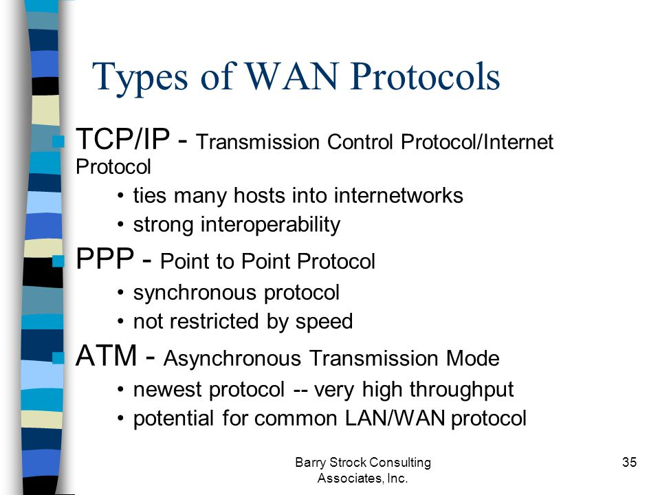 Barry Strock Consulting Associates, Inc. 35 Types of WAN Protocols n TCP/IP - Transmission Control Protocol/Internet Protocol ties many hosts into int