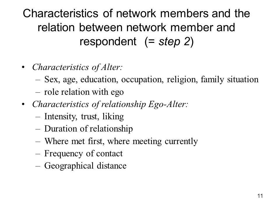 11 Characteristics of network members and the relation between network member and respondent (= step 2) Characteristics of Alter: –Sex, age, education, occupation, religion, family situation –role relation with ego Characteristics of relationship Ego-Alter: –Intensity, trust, liking –Duration of relationship –Where met first, where meeting currently –Frequency of contact –Geographical distance