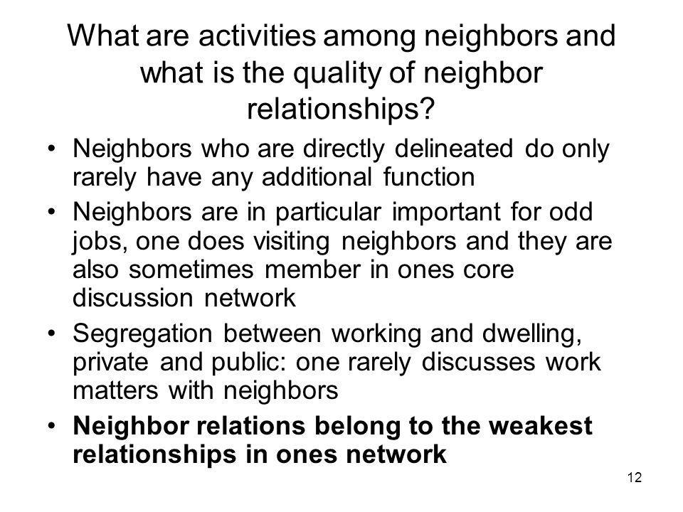 12 What are activities among neighbors and what is the quality of neighbor relationships.