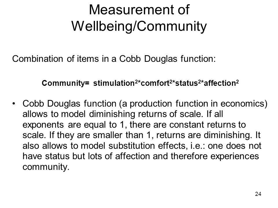 24 Measurement of Wellbeing/Community Combination of items in a Cobb Douglas function: Community= stimulation 2 *comfort 2 *status 2 *affection 2 Cobb