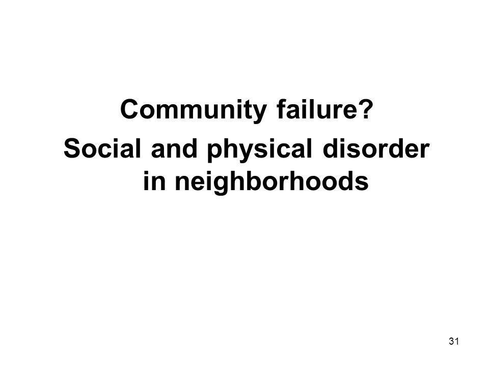 31 Community failure Social and physical disorder in neighborhoods