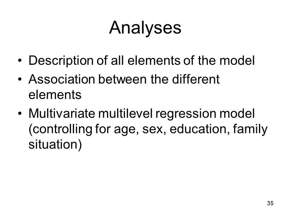 35 Analyses Description of all elements of the model Association between the different elements Multivariate multilevel regression model (controlling for age, sex, education, family situation)