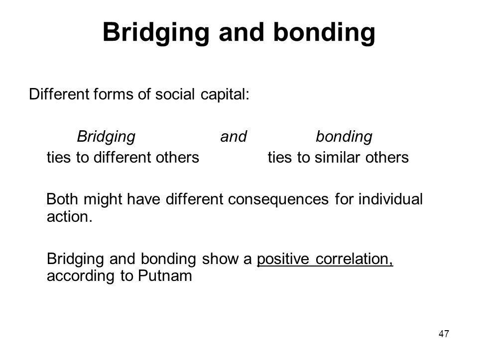 Bridging and bonding Different forms of social capital: Bridging and bonding ties to different others ties to similar others Both might have different