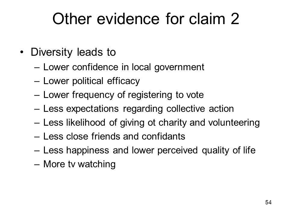 Other evidence for claim 2 Diversity leads to –Lower confidence in local government –Lower political efficacy –Lower frequency of registering to vote –Less expectations regarding collective action –Less likelihood of giving ot charity and volunteering –Less close friends and confidants –Less happiness and lower perceived quality of life –More tv watching 54
