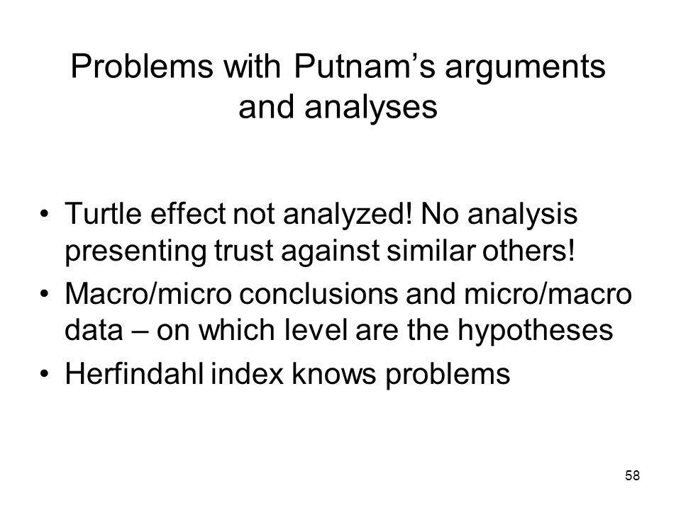 Problems with Putnams arguments and analyses Turtle effect not analyzed! No analysis presenting trust against similar others! Macro/micro conclusions