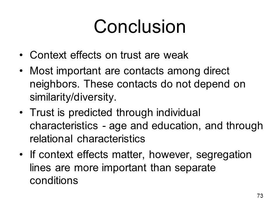Conclusion Context effects on trust are weak Most important are contacts among direct neighbors.