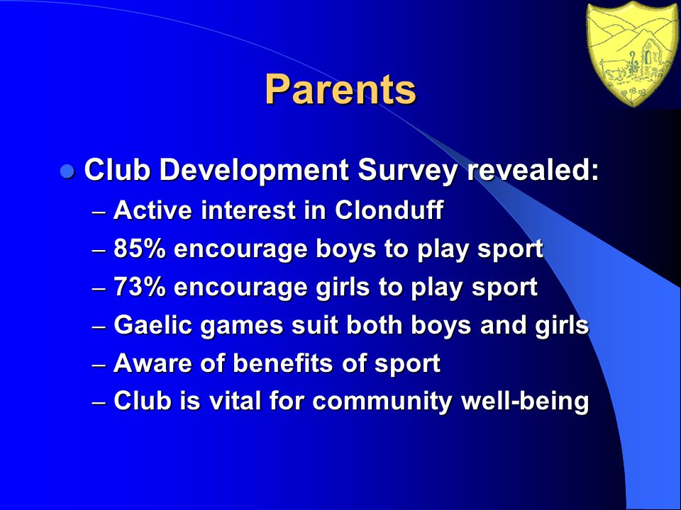 Parents Club Development Survey revealed: Club Development Survey revealed: – Active interest in Clonduff – 85% encourage boys to play sport – 73% encourage girls to play sport – Gaelic games suit both boys and girls – Aware of benefits of sport – Club is vital for community well-being