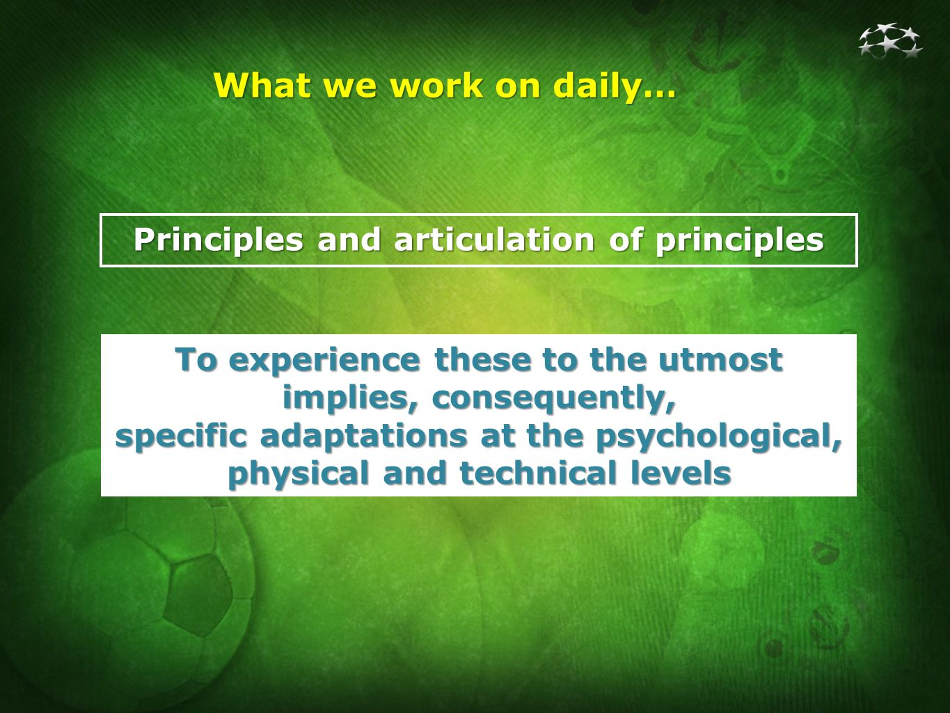 Principles and articulation of principles What we work on daily… To experience these to the utmost implies, consequently, specific adaptations at the psychological, physical and technical levels