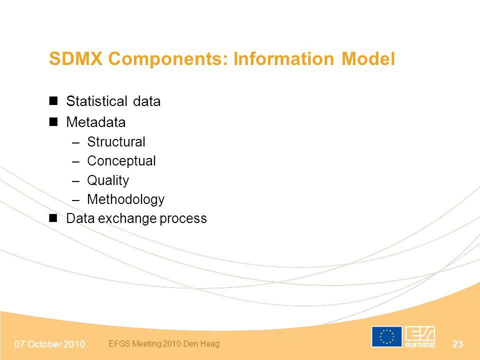 07 October 2010 EFGS Meeting 2010 Den Haag 23 SDMX Components: Information Model Statistical data Metadata –Structural –Conceptual –Quality –Methodolo