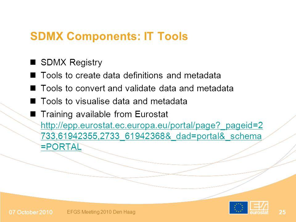 07 October 2010 EFGS Meeting 2010 Den Haag 25 SDMX Components: IT Tools SDMX Registry Tools to create data definitions and metadata Tools to convert a