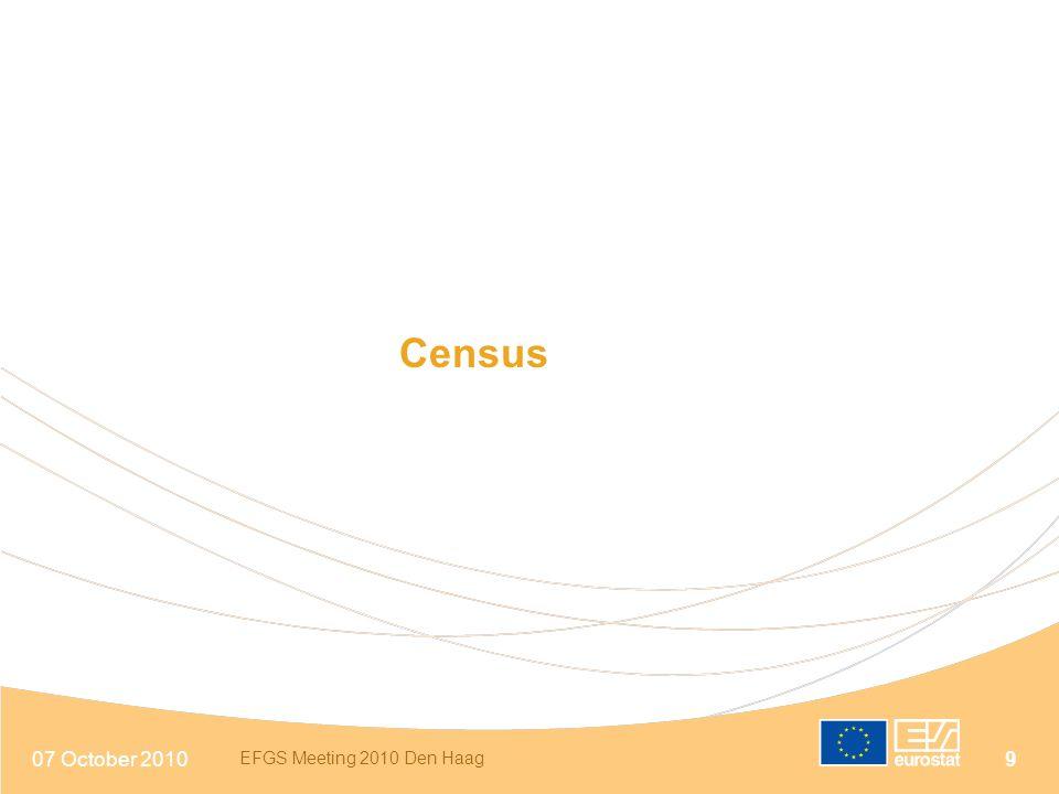 07 October 2010 EFGS Meeting 2010 Den Haag 9 Census