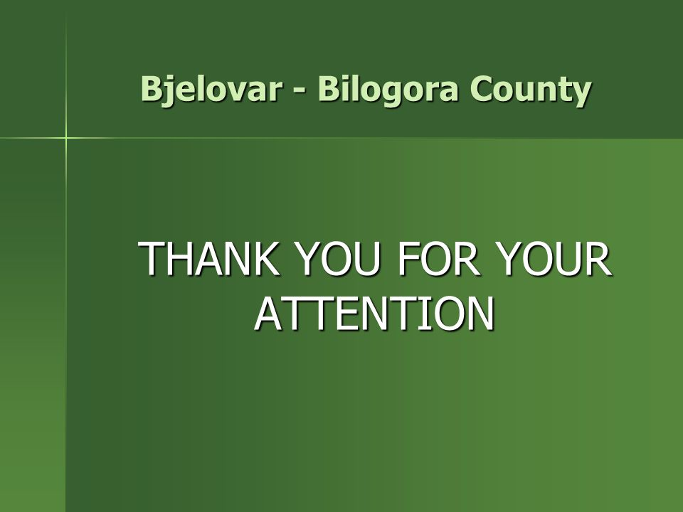 THANK YOU FOR YOUR ATTENTION Bjelovar - Bilogora County