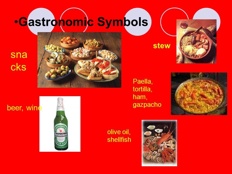 Gastronomic Symbols sna cks stew beer, wine Paella, tortilla, ham, gazpacho olive oil, shellfish