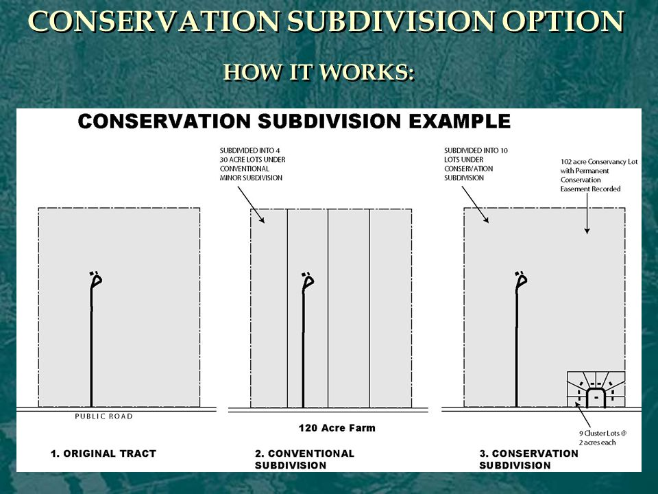 CONSERVATION SUBDIVISION OPTION HOW IT WORKS: