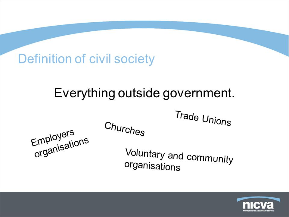 Definition of civil society Everything outside government.