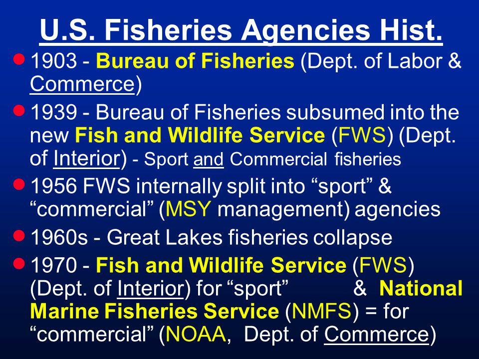 U.S. Fisheries Agencies Hist. 1903 - Bureau of Fisheries (Dept. of Labor & Commerce) 1939 - Bureau of Fisheries subsumed into the new Fish and Wildlif