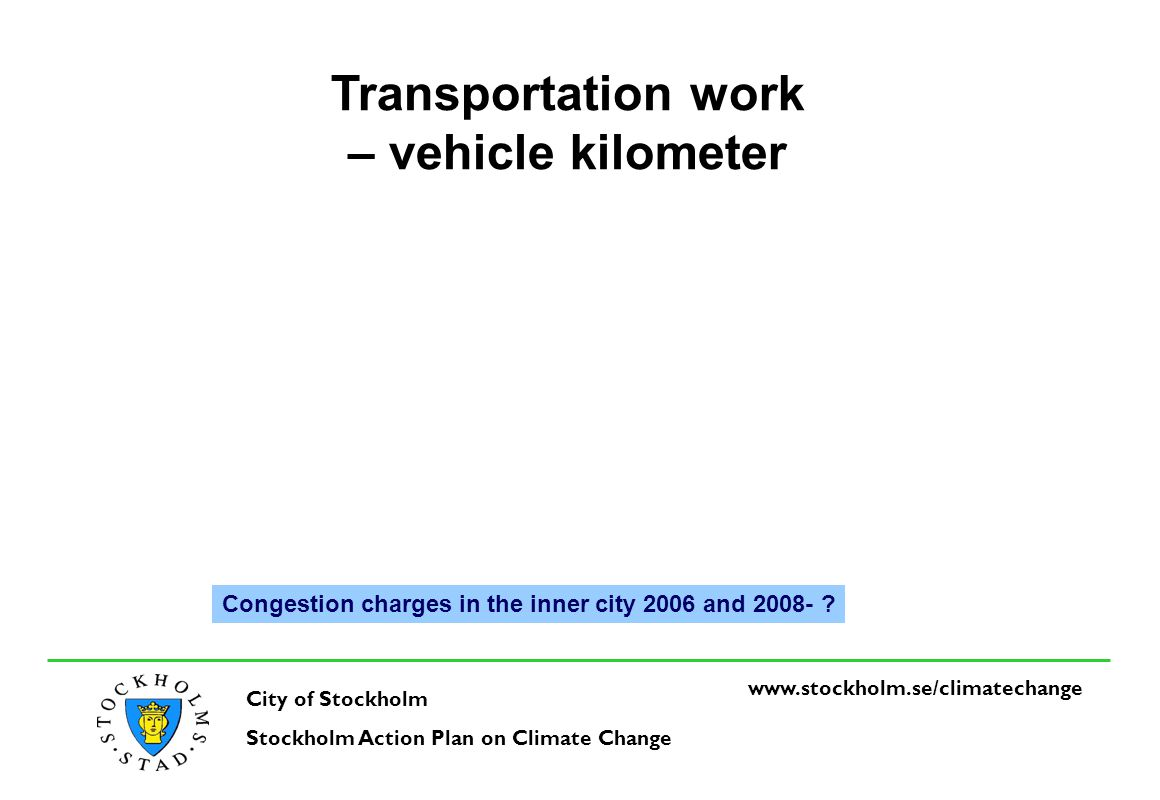 www.stockholm.se/climatechange City of Stockholm Stockholm Action Plan on Climate Change Transportation work – vehicle kilometer Congestion charges in the inner city 2006 and 2008-