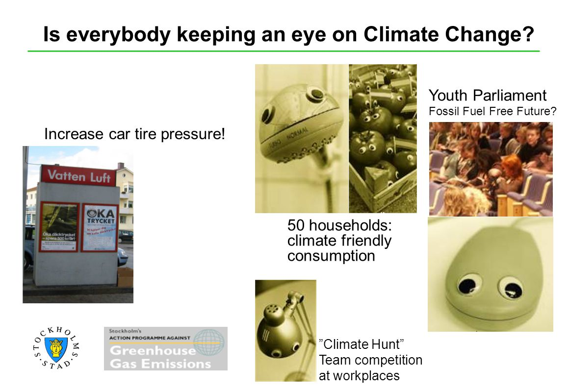 Is everybody keeping an eye on Climate Change? Increase car tire pressure! Youth Parliament Fossil Fuel Free Future? 50 households: climate friendly c