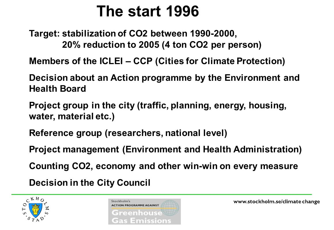 www.stockholm.se/climate change The start 1996 Target: stabilization of CO2 between 1990-2000, 20% reduction to 2005 (4 ton CO2 per person) Members of the ICLEI – CCP (Cities for Climate Protection) Decision about an Action programme by the Environment and Health Board Project group in the city (traffic, planning, energy, housing, water, material etc.) Reference group (researchers, national level) Project management (Environment and Health Administration) Counting CO2, economy and other win-win on every measure Decision in the City Council
