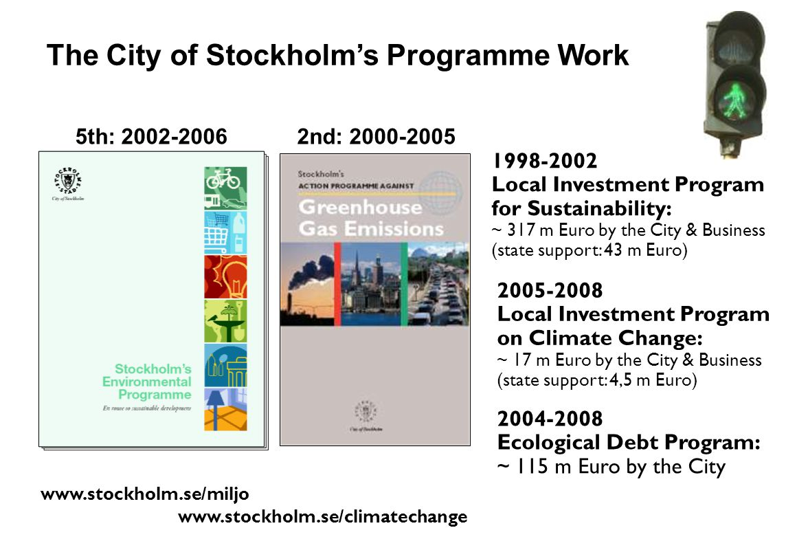 www.stockholm.se/miljo The City of Stockholms Programme Work www.stockholm.se/climatechange 1998-2002 Local Investment Program for Sustainability: ~ 3