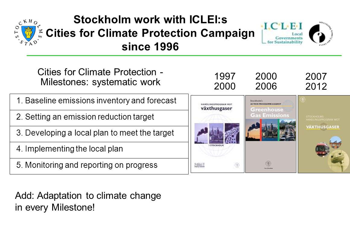 Stockholm work with ICLEI:s Cities for Climate Protection Campaign since 1996 1. Baseline emissions inventory and forecast 2. Setting an emission redu