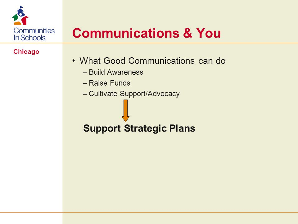 Chicago Communications & You What Good Communications can do –Build Awareness –Raise Funds –Cultivate Support/Advocacy Support Strategic Plans