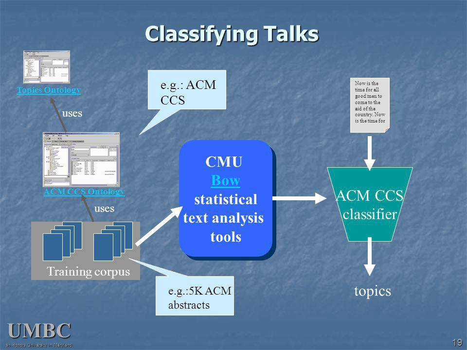 UMBC an Honors University in Maryland 19 Classifying Talks ACM CCS Ontology Training corpus CMU Bow statistical Bow text analysis tools CMU Bow statistical Bow text analysis tools ACM CCS classifier Now is the time for all good men to come to the aid of the country.
