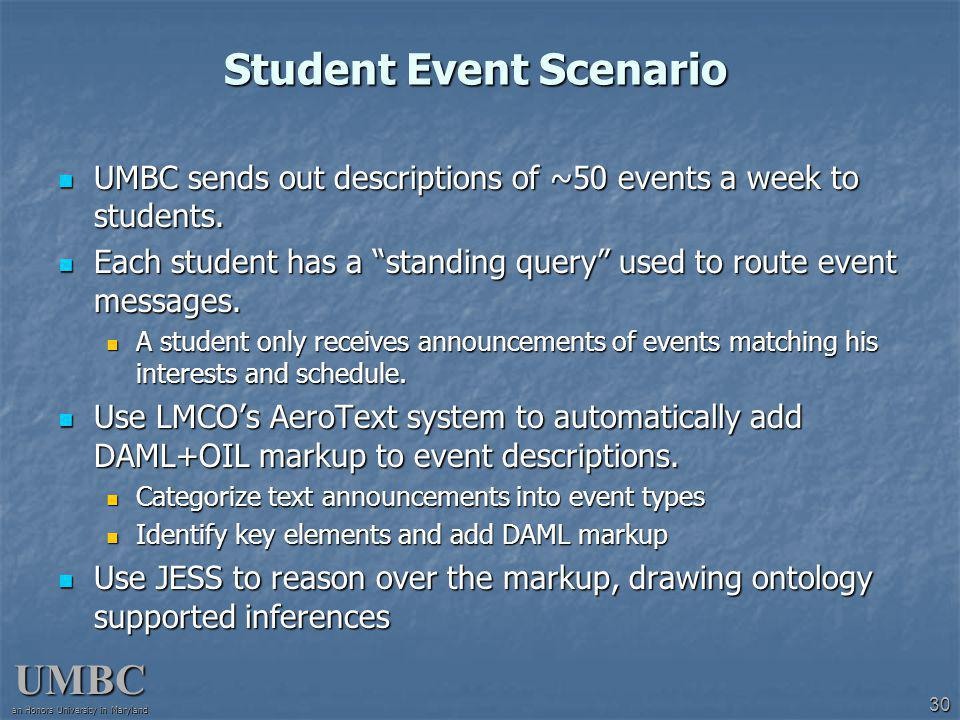 UMBC an Honors University in Maryland 30 Student Event Scenario UMBC sends out descriptions of ~50 events a week to students.