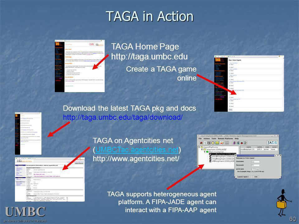 UMBC an Honors University in Maryland 60 TAGA in Action TAGA Home Page http://taga.umbc.edu TAGA on Agentcities net (UMBCTac.agentcities.net)UMBCTac.agentcities.net http://www.agentcities.net/ Download the latest TAGA pkg and docs http://taga.umbc.edu/taga/download/ Create a TAGA game online TAGA supports heterogeneous agent platform.