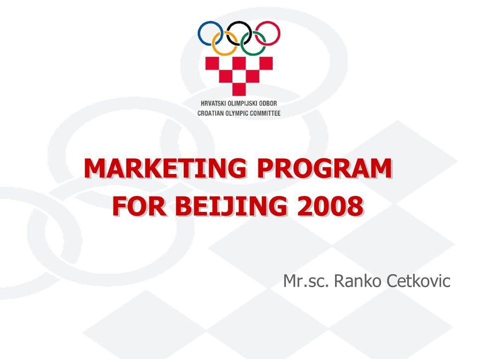 MARKETING PROGRAM FOR BEIJING 2008 Mr.sc. Ranko Cetkovic