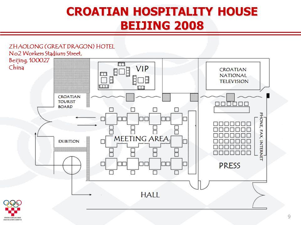 9 CROATIAN HOSPITALITY HOUSE BEIJING 2008 ZHAOLONG (GREAT DRAGON) HOTEL No2 Workers Stadium Street, Beijing, 100027 China