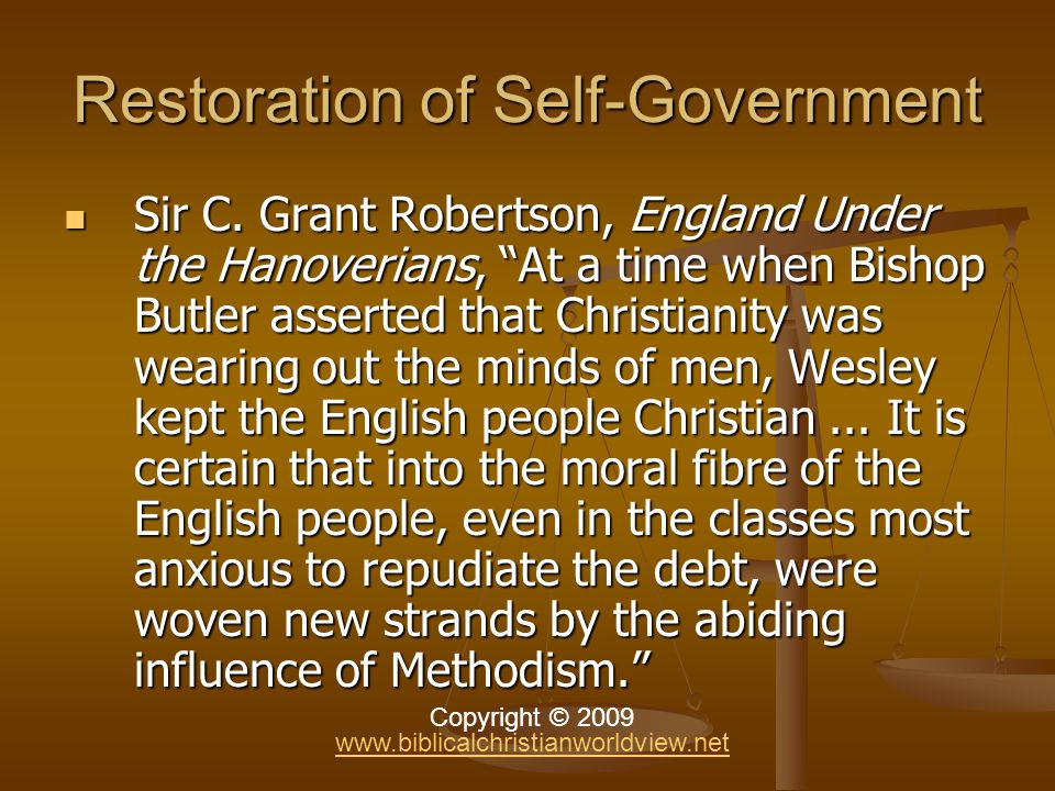 Restoration of Self-Government Sir C.