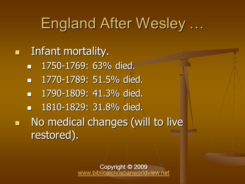 England After Wesley … Infant mortality. Infant mortality.