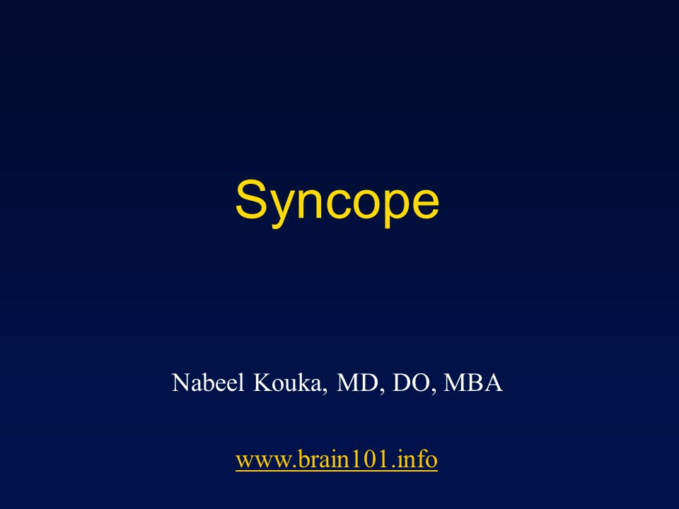 Syncope - Etiology Reflex mediated - 40% Unexplained - 25% Cardiac - 15% Others - 20% Orthostatic Hypotention Cerebrovascular / Neurologic Psychiatric Hypoglycemia Medications