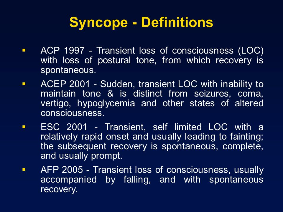 Carotid Sinus Syndrome (CSS) Syncope clearly associated with carotid sinus stimulation is rare (1% of syncope) CSS may be an important cause of unexplained syncope / falls in older individuals
