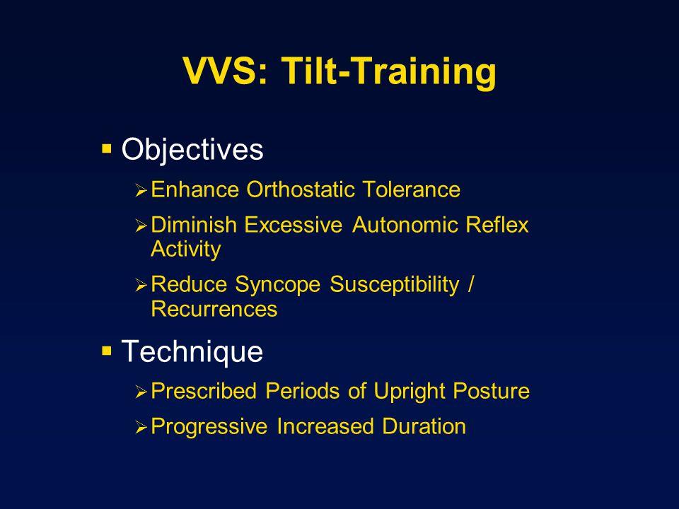 VVS: Tilt-Training Objectives Enhance Orthostatic Tolerance Diminish Excessive Autonomic Reflex Activity Reduce Syncope Susceptibility / Recurrences T