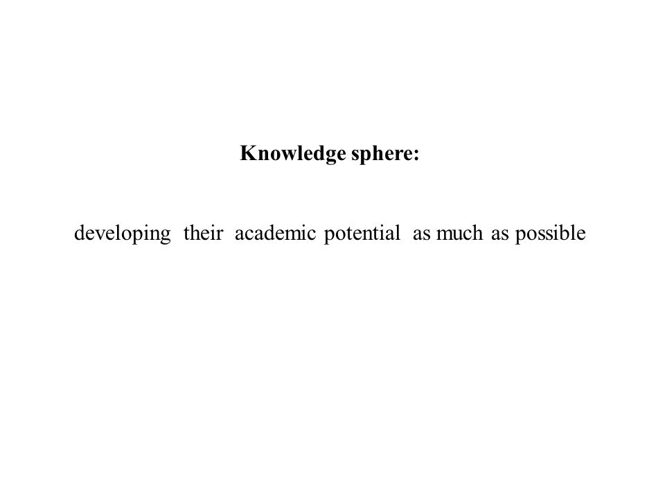 Knowledge sphere: developing their academic potential as much as possible
