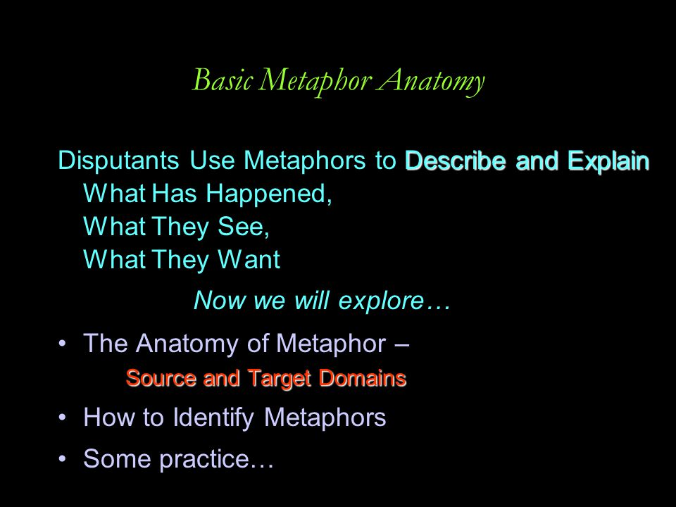 Basic Metaphor Anatomy Describe and Explain Disputants Use Metaphors to Describe and Explain What Has Happened, What They See, What They Want Now we w