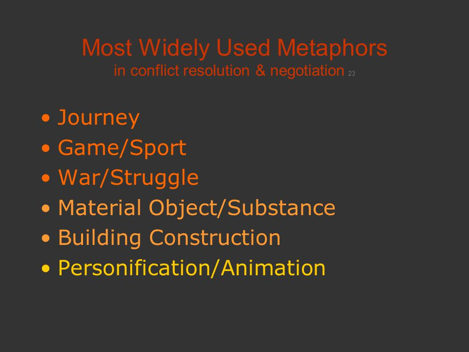 Most Widely Used Metaphors in conflict resolution & negotiation 23 Journey Game/Sport War/Struggle Material Object/Substance Building Construction Per