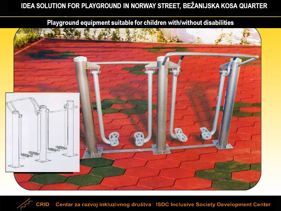IDEA SOLUTION FOR PLAYGROUND IN NORWAY STREET, BEŽANIJSKA KOSA QUARTER Playground equipment suitable for children with/without disabilities