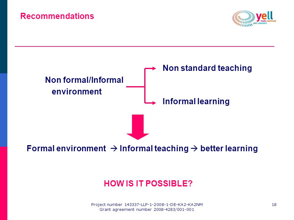 Project number 143337-LLP-1-2008-1-DE-KA2-KA2NM Grant agreement number 2008-4283/001-001 18 Recommendations Non standard teaching Non formal/Informal environment Informal learning Formal environment Informal teaching better learning HOW IS IT POSSIBLE