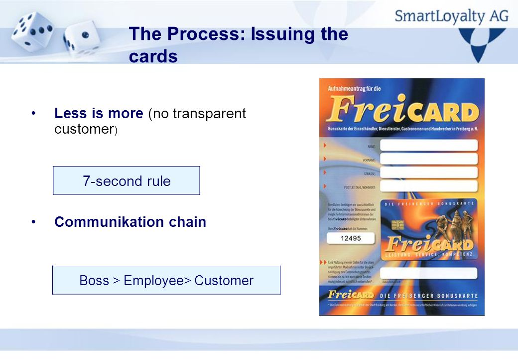 The Process: Issuing the cards Less is more (no transparent customer ) Communikation chain 7-second rule Boss > Employee> Customer