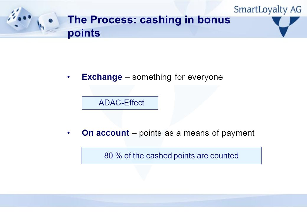 The Process: cashing in bonus points Exchange – something for everyone On account – points as a means of payment ADAC-Effect 80 % of the cashed points are counted