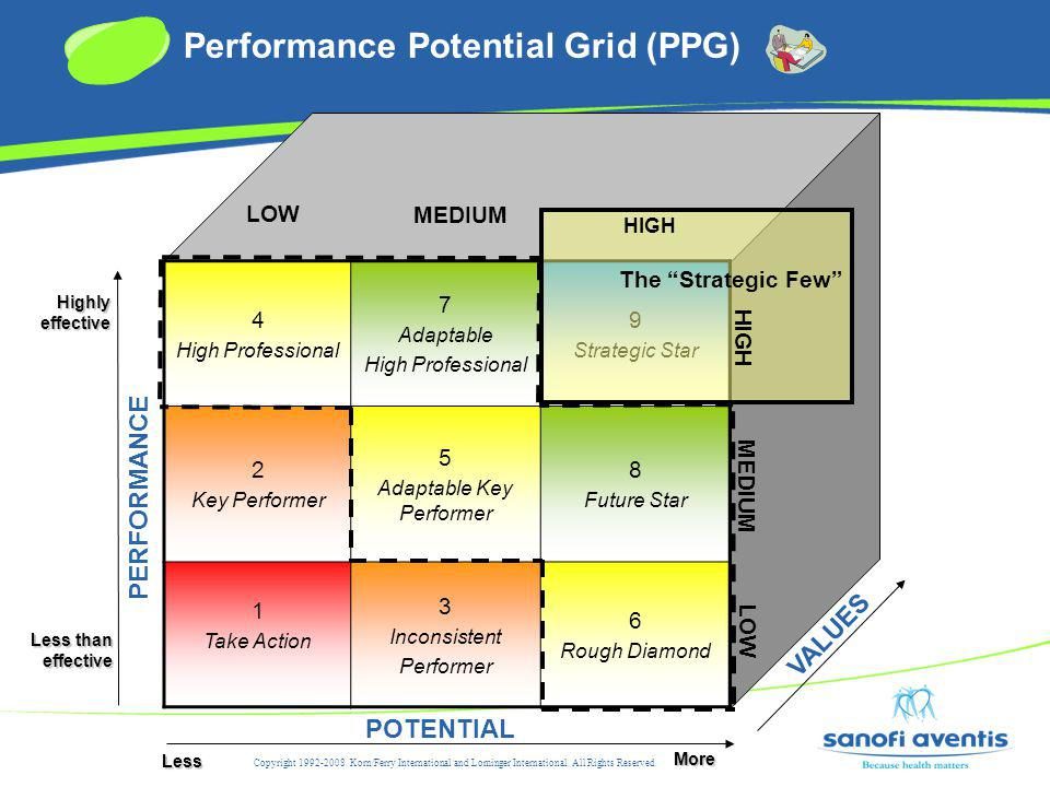 4 High Professional 7 Adaptable High Professional 9 Strategic Star 2 Key Performer 5 Adaptable Key Performer 8 Future Star 1 Take Action 3 Inconsistent Performer 6 Rough Diamond PERFORMANCE POTENTIAL Less More Less than effective Highly effective The Strategic Few VALUES HIGH MEDIUM LOW MEDIUM HIGH Copyright 1992-2008.