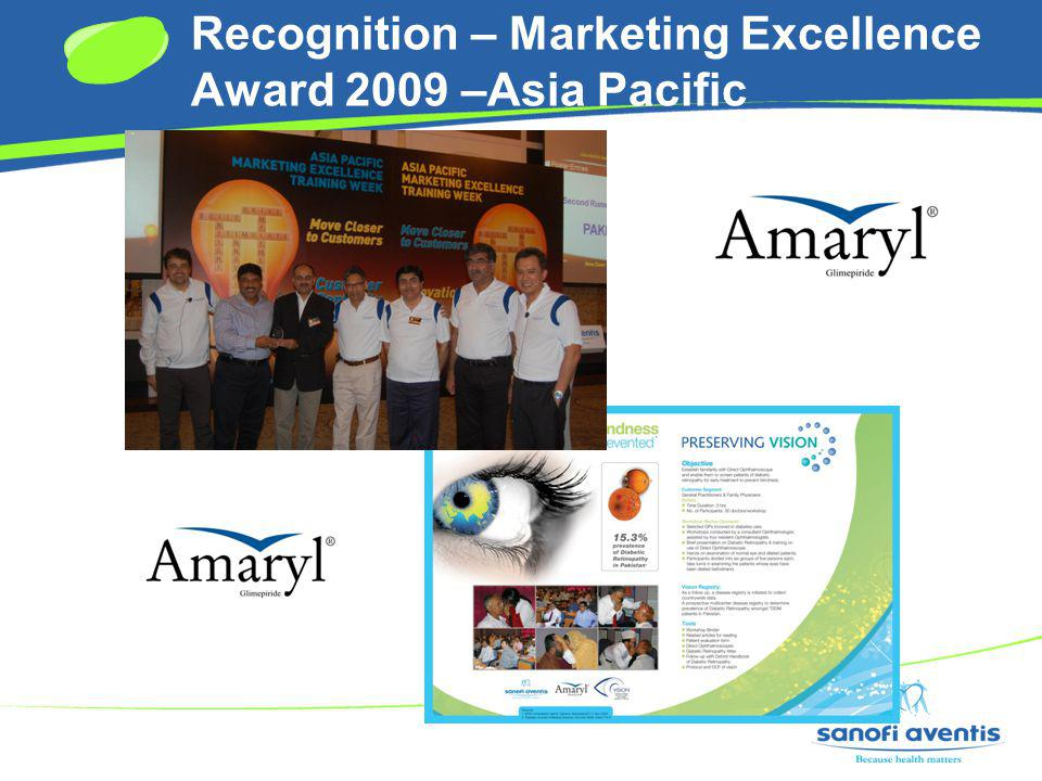 Recognition – Marketing Excellence Award 2009 –Asia Pacific
