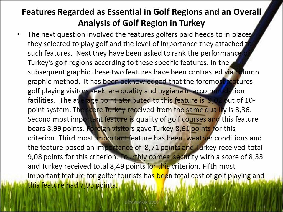 Features Regarded as Essential in Golf Regions and an Overall Analysis of Golf Region in Turkey The next question involved the features golfers paid h